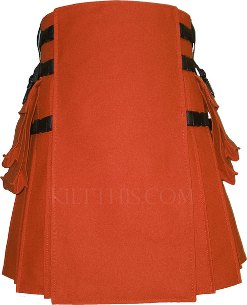 Interchangeable Orange Canvas Hiker Utility Kilt