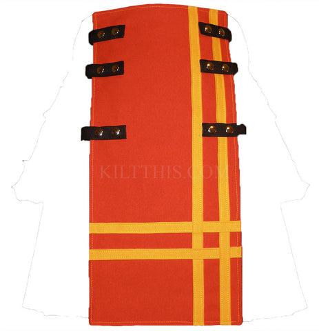 Interchangeable Utility Kilt Front Panel Orange Yellow Double Cross Snap Design