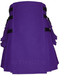Interchangeable Purple Canvas Hiker Utility Kilt Design