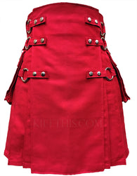 Red Canvas Cargo Utility Kilt Red Straps