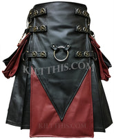 Simple Black Leather Kilt Burgundy Black Leather V Design Metal Ring Spiral Conchos Leather Straps w Kilt Chains