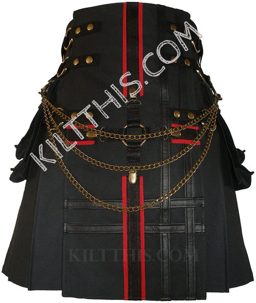 Customize Black Cargo Utility Kilt Black Red Cross Design Adjustable