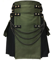 Interchangeable Black Green Soft Cotton Cargo Utility Kilt
