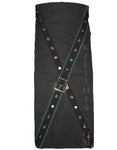Utility Kilt Front Panel Black with Green X Metal Latch Design Interchangeable