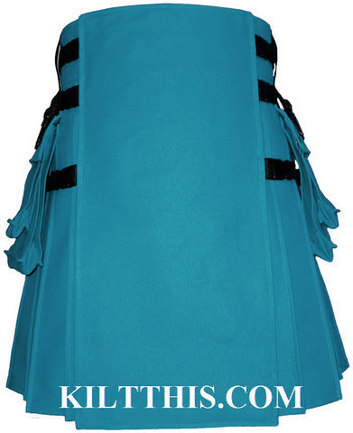 Interchangeable Turquoise Canvas Hiker Utility Kilt Design