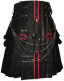 Interchangeable Black Cargo Utility Kilt Red Black Cross Leather Double Cross Design