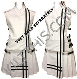 Customize White Leather Kilt Black Double Cross Design