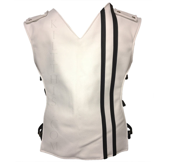 White Baddie Leather Vest Metal Latch Design