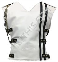 Customize White Baddie Leather Vest