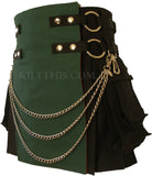 Interchangeable Short Women's Black Green Canvas Cargo Kilt