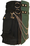 Short Women's Black Green Canvas Cargo Kilt Interchangeable