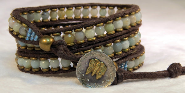 Amazonite Bracelet - Antique Button