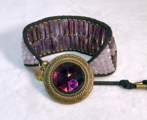 Amethyst Bracelet - Antique Button