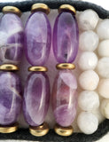 Amethyst & Brazilian Agate Cuff Bracelet - Antique Button