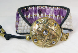 Amethyst & Opal Cuff Bracelet - Antique Button