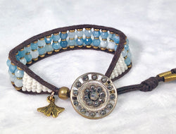 Aquamarine Gemstone Bracelet - Antique Steel Button