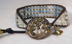 Aquamarine & Mother-of-Pearl Bracelet - Antique Button