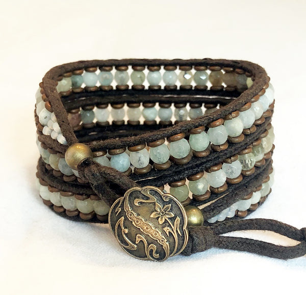 Aquamarine Gemstone Bracelet - Antique Button