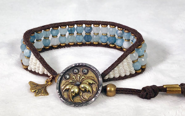Aquamarine Gemstone Bracelet - Antique Brass & Steel Floral Button