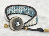 Aquamarine Gemstone Bracelet - Antique Moon & Star Button