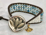 Aquamarine Gemstone Bracelet - Vintage Leaf Button