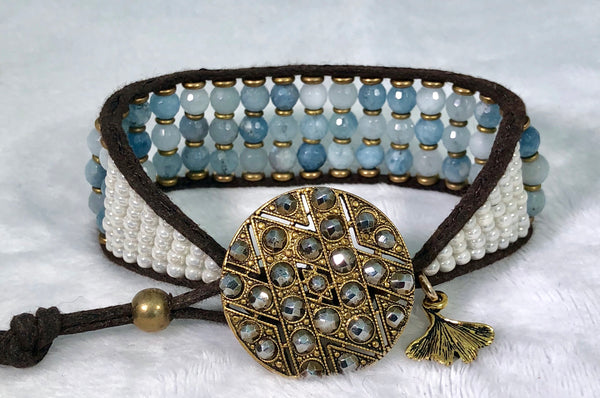 Aquamarine Gemstone Bracelet - Antique Brass and Steel Button