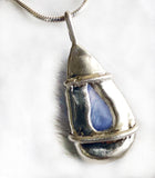 Blue Lace Agate Gemstone & Sterling Teardrop Pendant Necklace