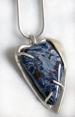 Blue Pietersite Gemstone & Sterling Heart Pendant