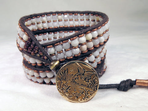 White Agate Bracelet - Antique Button