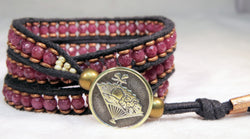 Dark Raspberry Muscovite Bracelet - Antique Button