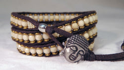 Fossil Coral Bracelet - Buddha Button