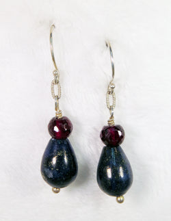 Lapis Lazuli & Garnet Gemstone Earrings