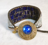 Lapis & Aquamarine Cuff Bracelet - Antique Button