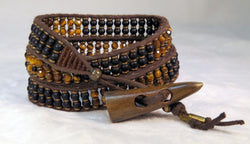 Men's Onyx & Tiger's Eye Bracelet - Vintage Button