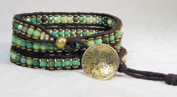 Moss Opal Bracelet - Antique Button