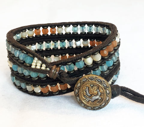 Aquamarine, Aventurine & Mother-of-Pearl Gemstone Bracelet - Antique Button