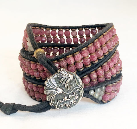 Raspberry Muscovite Gemstone Bracelet - Vintage Button