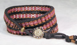 Raspberry Muscovite Bracelet - Antique Button