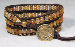 Orange Agate Bracelet - Antique Button