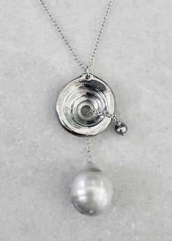 Perfect Puka & Pearls Drop Pendant Necklace - Sterling Silver