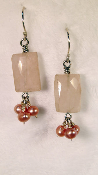 Rose Quartz & Blush Pearl Earrings