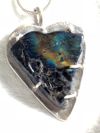 Finnish Spectrolite Gemstone & Sterling Heart Pendant Necklace