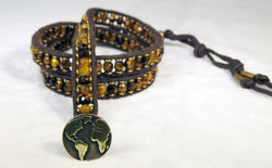 Men's Tiger's Eye Bracelet - Vintage Button