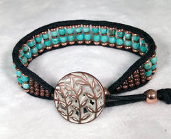 Turquoise Gemstone Bracelet - Leaf Button