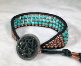 Turquoise Gemstone Bracelet - Antique Lacy Glass Button