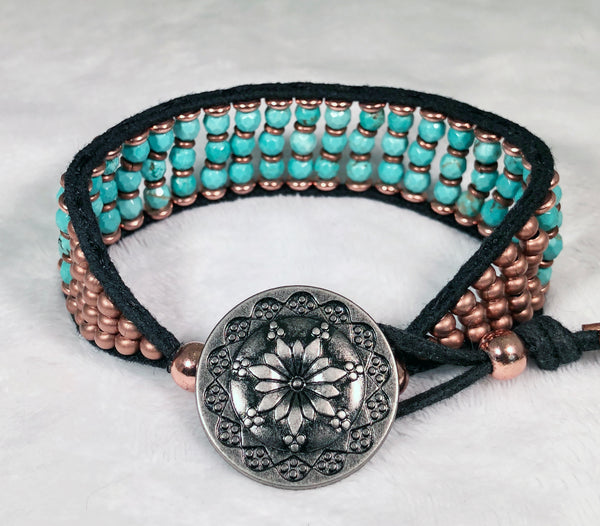 Turquoise Gemstone Bracelet - Vintage Flower Button