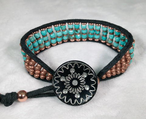 Turquoise Gemstone Bracelet - Vintage Etched Button