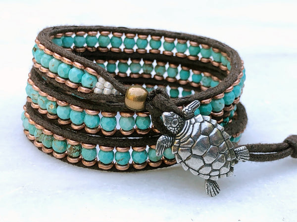 Men's Turquoise Bracelet - Vintage Sea Turtle Button