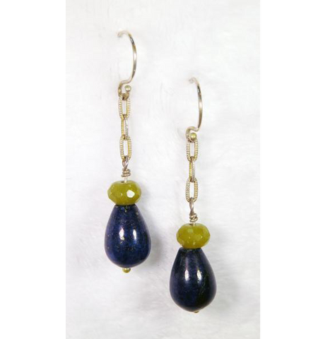 Lapis Lazuli & Jade Gemstone Earrings