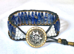 Lapis & Moonstone Bracelet - Antique Button